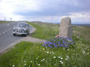 Summit of Shap Fell (on return journey) opposite the tribute memorial to all drivers and crews of commercial vehicles