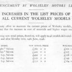 Wolseley Price List June 1946
