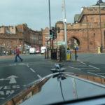 Approaching Carlisle town walls