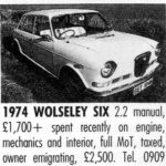 Wolseleys For Sale 1990 - courtesy Popular Classics