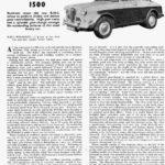 1500 Road Test - Motor Sport January 1958