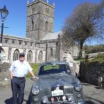 Wolseley 1500 Mk1 in the driveway to St Davids cathedral